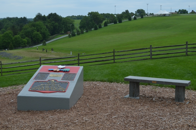 Monument at original Woodstock location